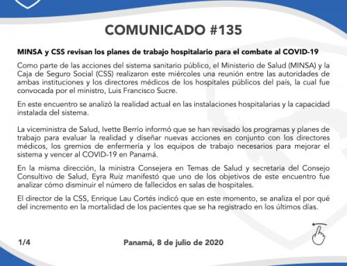 COMUNICADO #135: MINSA y CSS revisan los planes de trabajo hospitalario para el combate al COVID-19