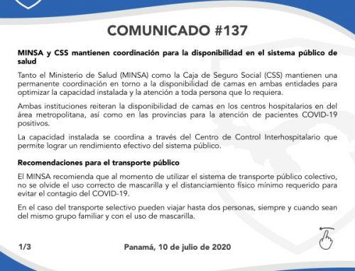 Comunicado #137: MINSA y CSS mantienen coordinación para la disponibilidad en el sistema público de salud