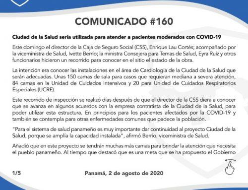 Comunicado #160: Ciudad de la Salud sería utilizada para atender a pacientes moderados con COVID-19