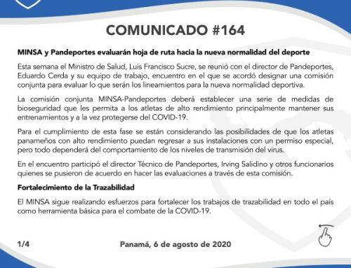 Comunicado # 164: MINSA y PANDEPORTES, evaluarán hoja de ruta hacia la nueva normalidad del deporte