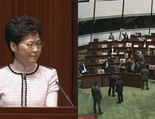 Con abucheos impiden el discurso de la jefa del Ejecutivo de Hong Kong